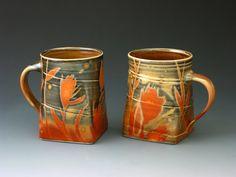 Nancy Halter & Greg Jahn  Pair Shino Mugs strictly functional