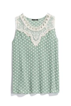 I really like this shirt. The color, details, polka dots. Love it all.