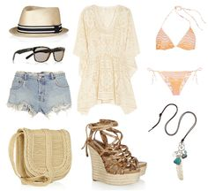 Gucci hat, YSL sunglasses, Ksubi denim shorts, Ralph Lauren bag, Anna Sui tunic, Michael Kors wedges, Missoni bikini & Chan Luu necklace
