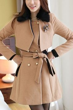 Two Piece Look Fit and Flared Belted Coat