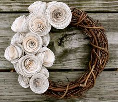 Wreath with paper flowers