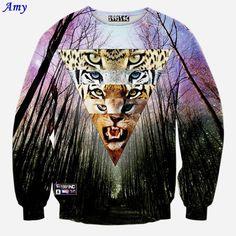 [Amy] Newest men/women funny galaxy sweatshirt print animal leopard/tiger /lion pullover 3d hoodies tops WY33