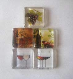 Wine and Grapes Square Glass Magnets Set of 5 by CardsandNotes, $6.50 for glass, magnets, adhesive: http://www.ecrafty.com/c-81-craft-supplies.aspx