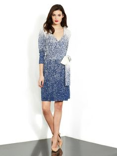 The timeless DVF wrap dress in blue, black, and fuschia prints.