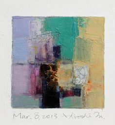 Mar. 8, 2013 - Original Abstract Oil Painting - 9x9 painting (9 x 9 cm - app. 4 x 4 inch) with 8 x 10 inch mat. $60.00, via Etsy.