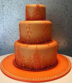 Orange wedding cakes are generally part of an orange wedding theme. Orange is a power colour said to stimulate enthusiasm and vitality. Check out these pictures of stunning orange cakes. Crazy Cakes, Fancy Cakes, Pretty Cakes, Beautiful Cakes, Amazing Cakes, Orange Wedding Themes, Tangerine Wedding, Wedding Colors, Orange Buttercream