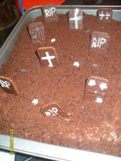 Halloween Grave Yard Cake