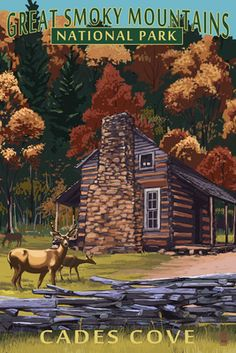 Cades Cove & John Oliver Cabin - Great Smoky Mountains National Park, TN - Lantern Press Poster