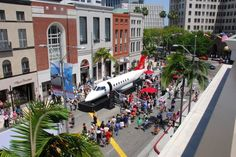 """For the first time ever, a 68-foot-long Learjet 85 courtesy of Flexjet was parked on Rodeo Drive. It was part of this year's Rodeo Drive Concours d'Elegance, themed """"The Jet Age."""""""