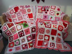 Our 4 'Strawberry and Cream' Challenge SIBOLS! All finished! Thank you for the beautiful Squares!, via Flickr.