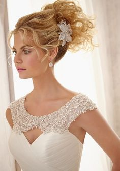 Bridal gown by Mori Lee with detachable beaded yoke.  available at avenue22 email us at info@avenue22.ca