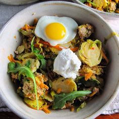 Warming, hearty, paleo, gluten free hash featuring sweet potatoes and brussels sprout. Add pork or not! Perfect winter food!