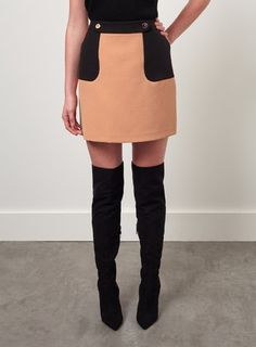 Our colourblock button mini skirt is the cutest wardrobe staple this season. Mini Skirts, Short Skirts, Miss Selfridge, Skater Skirt, Audi, Buttons, Boots, Polyvore, Shopping