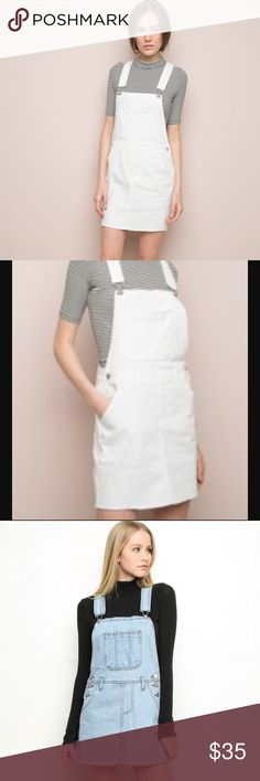 White overall dress Brandy Melville white overall denim dress. I'm selling only the white denim dress, the blue is just for modeling purposes. One size Brandy Melville Dresses
