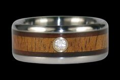 Milo and koa wood titanium diamond ring