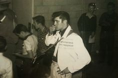 This photo of Elvis Presley was taken by Joyce Galbston at the Fair Park Coliseum in Lubbock,Texas on February 13, 1955.
