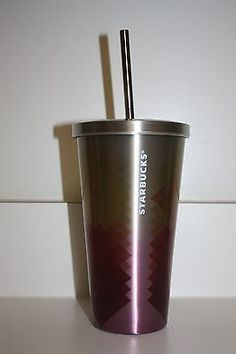 New 2014 Starbucks 16oz Stainless Steel Cold Cup Sunset Diamond Tumbler Coffee