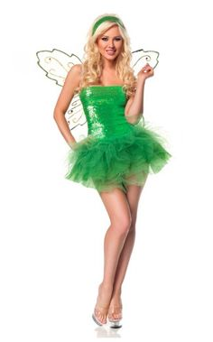 womens adult tinkerbell costume halloween costume ideas with green lace and sequence fairy wings