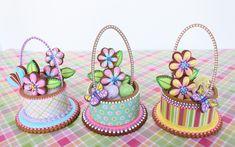 Contoured 3-D Easter Basket Cookie Trio by Julia M. Usher, www.juliausher.com