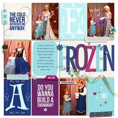 Disney's Frozen Elsa & Anna digital Project Life layout featuring Project Mouse: Ice by Britt-ish Designs and Sahlin Studio