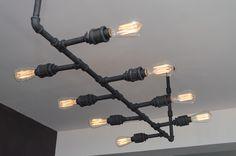 DIY Lighting fixture for main dining space #lightingdesign #vegan #restaurant #interiordesign Restaurant, Track Lighting, Diys, Chandelier, Ceiling Lights, Interior, Home Decor, Twist Restaurant, Indoor