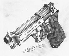 Beretta M92FS | A recent pencil drawing of my Beretta M92 FS… | Flickr