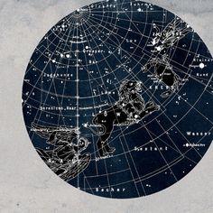 Cancer and Leo Constellation  Stars Map Zodiac  Print Vintage Image. $22.00, via Etsy.
