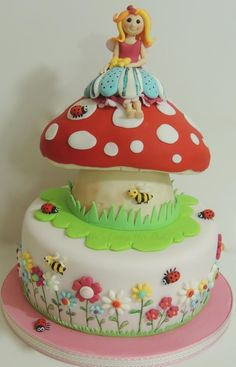 Fairy toadstool cake - Cake by Shereen Girly Cakes, Big Cakes, Fancy Cakes, Fairy Garden Cake, Garden Cakes, Cupcakes, Cupcake Cakes, Cake Pops, Toadstool Cake