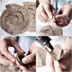 Reduce Reuse Recycle Replenish Restore DIY How To Make a Burlap Spiral Rolled Rosette is part of Fabric flowers diy - Burlap Rosettes, Burlap Fabric, Burlap Lace, Hessian, Twine Flowers, Cloth Flowers, Fabric Flowers, Burlap Crafts, Fabric Crafts