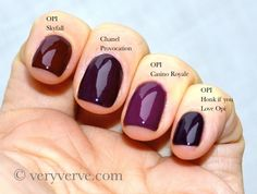 veryverve: Chanel Provocation nail polish comparison Malice, Rouge Noir, Vertigo, Paradoxal, OPI Casino Royale, Skyfall, Honk if you love opi. Vampy trend 2013, swatches dupes.