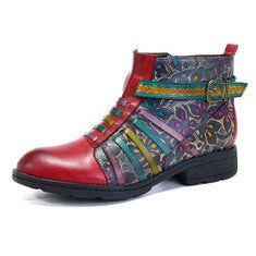 Designer SOCOFY Sooo Comfy Vintage Handmade Floral Ankle Leather Boots - NewChic Mobile
