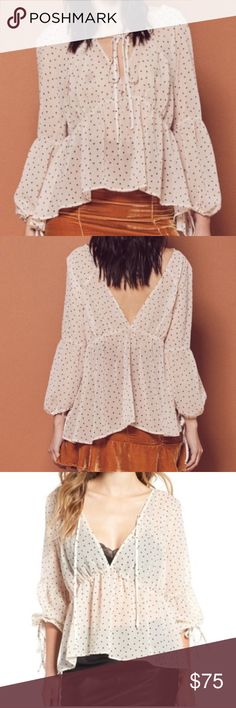 """•nwt• for love and lemons truffle polka dot top NWT lovely sheer polka dot top with ties at neck, back, and sleeves. Cream with black dots. So versatile!! Bust 21"""". Length 27 For Love And Lemons Tops Blouses"""