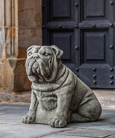 Campania International A456GS Antique Bulldog Statue Grey Stone Finish *  This Is An Amazon Associateu0027s Pin