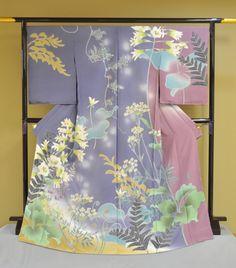 着物, 加賀友禅, 日本 -  'Kaga-Yuzen', Hand-painted silk Kimono, Japan.
