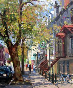 Rue St Denis Montreal is a painting by Roelof Rossouw which was uploaded on November 3rd, 2011. The painting may be purchased as wall art, home decor, apparel, phone cases, greeting cards, and more. All products are produced on-demand and shipped worldwide within 2 - 3 business days.