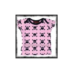Pink Baby T-Shirt with Skull & Crossbones | Baby Gothlings & via Polyvore