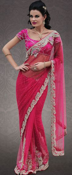 Fuchsia Embroidered Net #Indian #wedding #Saree | @ $493.47 | Shop It Here: http://www.sareegalaxy.com/pages/itemlarge.aspx?itemcode=SVD9N20085
