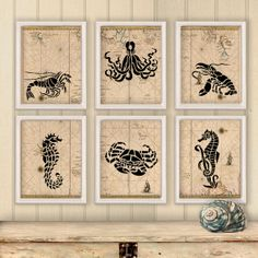 Nautical Map home decor Sea creatures Poster Print Wall decor Nursery art Seahorse Octopus print Beach house Coastal art digital print set on Etsy, $48.00