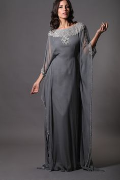 gray beaded Dubai Morrocan Style KAFTANS Abaya Jalabiya Ladies Maxi Long Formal Gowns Dresses