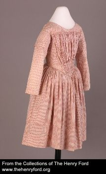 Girl's dress, ca. 1845 United States Cotton, baleen 76.104.13 The Henry Ford