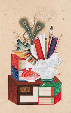 Korean Art, Rooster, Digital Art, Traditional, Embroidery, Pictures, Chinese, Painting, Animals