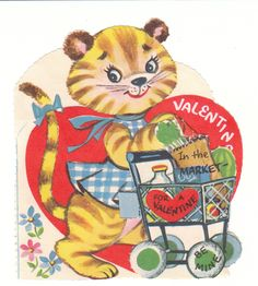 This extra cute vintage Valentine features a tiger cub shopping at the grocery store!  View from the Birdhouse: Weekend Window Shopping at Birdhouse Books