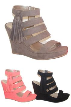 These boho chic fringe tassel wedges are comfy and are perfect for spring! Made of a fun and sexy faux suede these strappy cuties are a total must have! - Color Available: Taupe Strappy Wedges, Wedge Heels, Bohemian Shoes, Shoe Closet, Shoe Collection, Me Too Shoes, Boho Chic, Style Me, Fashion Shoes