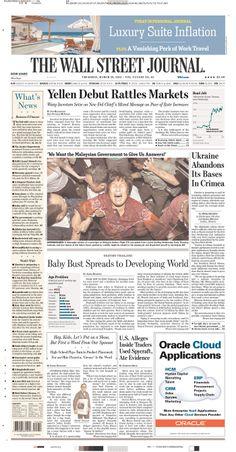 "WSJ: ""Yellen Debut Rattles Markets"""