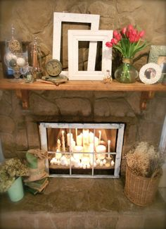 "This is a shot of my fireplace from my new blog...tried to make it into a ""vintage hearth."""