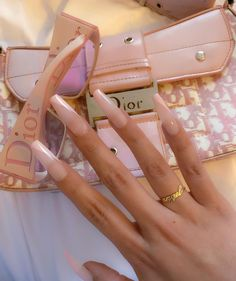 """Aimè on Instagram: """"Baby pink🌸👼🏼✨ Angel ring: @chvkerjewelry"""" Aycrlic Nails, Swag Nails, Hair And Nails, Kylie Nails, Grunge Nails, Classy Nails, Simple Nails, Manicure Y Pedicure, Fire Nails"""
