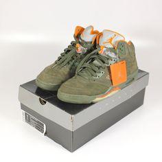 dd9e7c41fd41 NIKE Air Jordan 5 Retro Shoes Size 11 D Army Olive Solar Orange 314259 381  49364