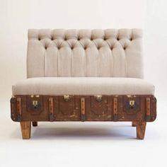 Simply in LoVe! with this Suitcase Chair- Designed by Katie Thompson, South Africa Vintage Suitcases, Vintage Luggage, Diy Sofa, Suitcase Chair, Large Suitcase, Multifunctional Furniture, Recycled Furniture, Couch, Sofa Chair