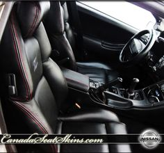 Nissan 300 ZX Custom Black with Red Piping Leather Interior - Visit Us Anytime Online - canadaseatskins.com  #leatherseats #nissan #300zx #automotiveleather