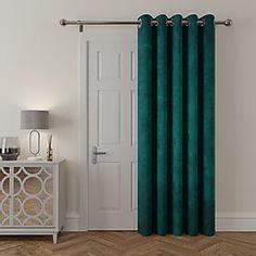 Door Curtains | Thermal Door Curtains | Dunelm Front Door Curtains, Beaded Door Curtains, Teal Door, Curtains Dunelm, Curtain Length, French Windows, Thermal Curtains, Back Doors